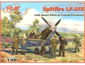Spitfire LF.IXE with Soviet pilots and ground personnel
